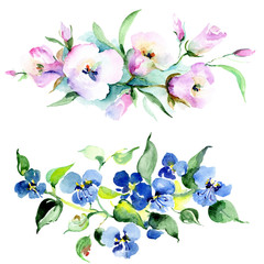 Bouquet flowers. Watercolor background set. Watercolour drawing isolated bouquet illustration element.