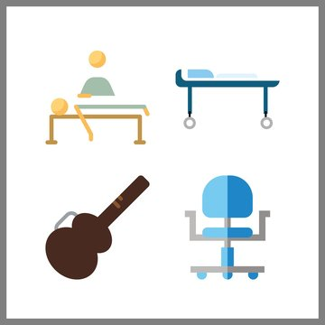 4 chair icon. Vector illustration chair set. guitar protector and relaxing icons for chair works