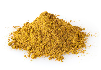 Pile of curry powder isolated on white background