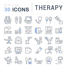 Set Vector Line Icons of Therapy.
