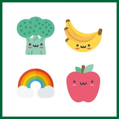 4 vibrant icon. Vector illustration vibrant set. bananas and apple icons for vibrant works