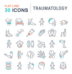 Set Vector Line Icons of Traumatology.