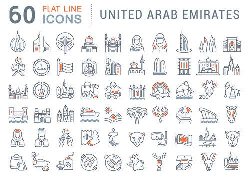 Set Vector Line Icons of United Arab Emirates.
