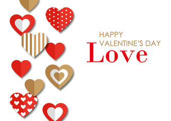 Decorative papercut hearts & greeting of valentine's day