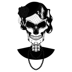 Vector image of the female skull in a hat with a veil and beads.