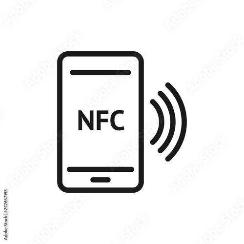 NFC smartphone signal linear icon  NFC phone  Thin line