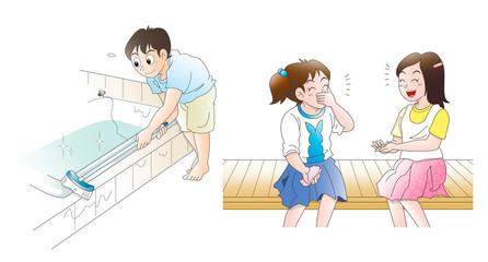 フロ掃除と会話