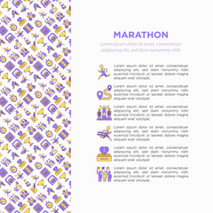 Marathon concept with thin line icons: runner, start, finish, running shoes, bottle of water, route, award, changing room, memory photo, donation, fan zone. Vector illustration, print media template.