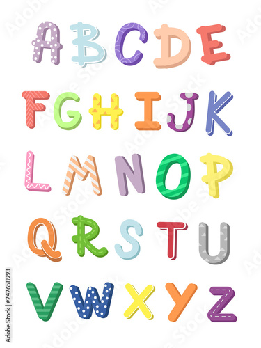 Poster english alphabet kids learning  Colorful isolated