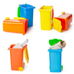 Recycling concept. Colorful bins for different garbage on white background