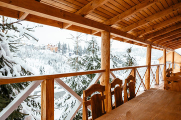 wooden terrace in winter