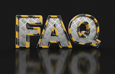 Metal FAQ text. Image with clipping path.