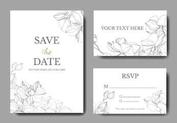 Vectoro Orchid flower. Engraved ink art. Wedding background border. Thank you, rsvp, invitation elegant illustration.