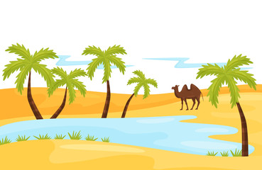 Sandy landscape with blue lake, brown camel and palm tree. Oasis in the desert. Natural scenery. Flat vector design