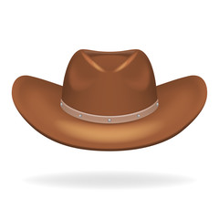 Cowboy leather hat isolated 3d realistic icon design vector illustration