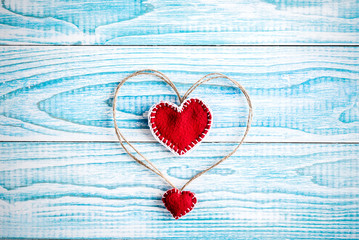 Beautiful decorative hearts on wooden background. Valentine's day. mother's day. I love you!
