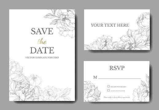 Vector Silver peony flower. Engraved ink art. Wedding background. Thank you, rsvp, invitation elegant card set.