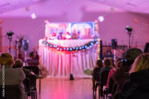 Children's puppet theater  Spectators, children's holiday