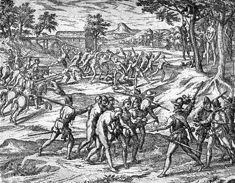 conquest of the Inca empire by Spanish conquistador Francisco Pizarro in XVI century: Spanish soldiers hang survivor aborigines after village destruction
