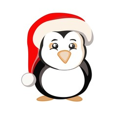 New year penguin in a red hat with a white pompon