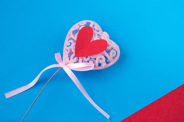 pink heart with little red hearts on blue background, Valentine's day, background for Valentine's...
