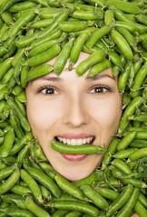 Woman in peas