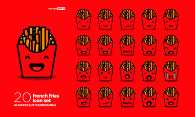 Set of Cute French Fries Emoji Line Icons In Different Expressions