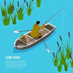 Alone Fisher Isometric Illustration