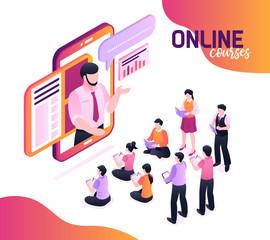 Online Courses Isometric Illustration