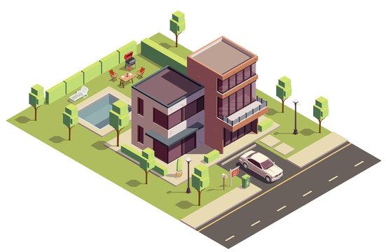 Isometric Suburban Villa Composition