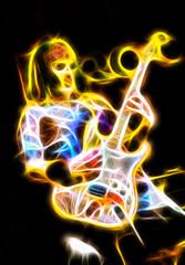 flaming evil phantom playing an electric guitar