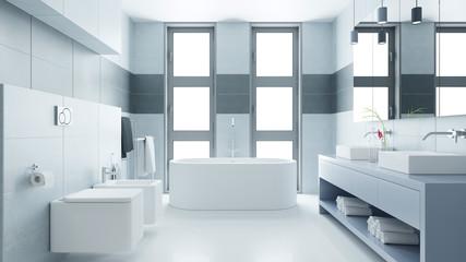 Helles Badezimmer mit Badewanne und Bidet