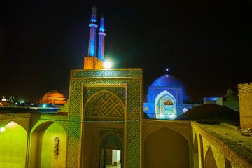 Jameh Mosque in evening lights, Yazd, Iran