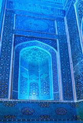 Illuminated wall of Jameh Mosque, Yazd, Iran