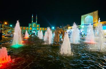 Bright fountain in Amir Chakhmaq Square, Yazd, Iran