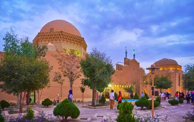 Evening walk in garden of Yazd, Iran