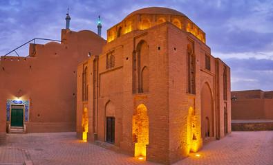 Twelve Imams Mausoleum in evening lights, Yazd, Iran