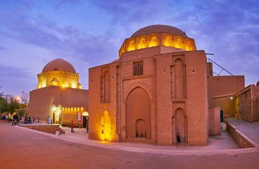 Landmarks of Yazd in evening lights, Iran