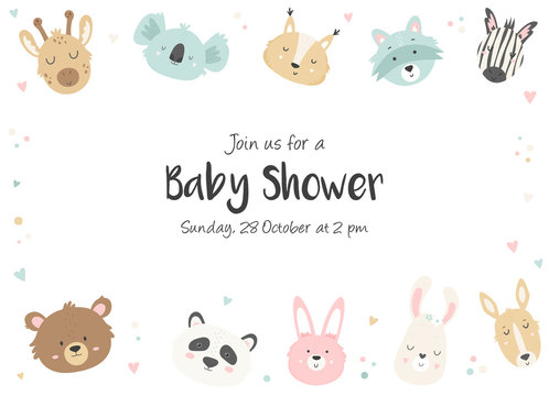 Baby Shower Invitation with cute animals.