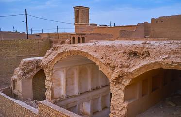 The ruins of historic mansion, Yazd, Iran