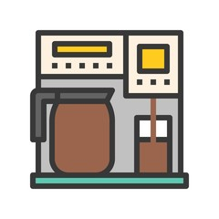Coffee maker vector, coffee related filled style editable stroke icon
