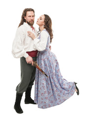 Beautiful couple woman and man in medieval clothes with pistol isolated
