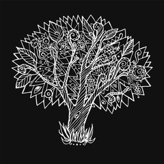 """Hand drawn vector illustration. Doodle Tree on a white background. Nature element. Can be used as a coloring page, print or poster to """"Day planting trees"""""""
