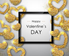 Happy Valentines day poster. Golden sparkle love heart symbol