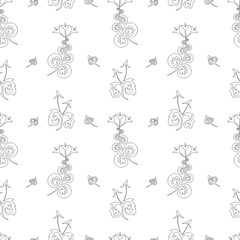 Seamless pattern of decorative floral elements