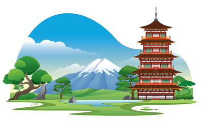 japan pagoda with beautiful background scenery