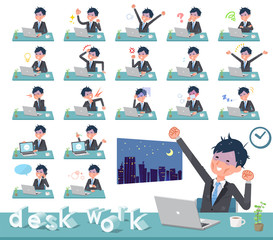 flat type Gray suit businessman Bad condition_desk work