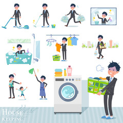 flat type Gray suit businessman Bad condition_housekeeping
