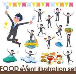 flat type Gray suit businessman Bad condition_food festival
