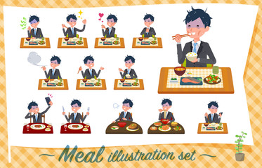 flat type Gray suit businessman Bad condition_Meal